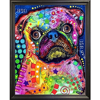 East Urban Home 'Pug 92309' Graphic Art Print; Black Grande Framed