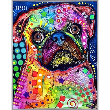 East Urban Home 'Pug 92309' Graphic Art Print; White Metal Framed