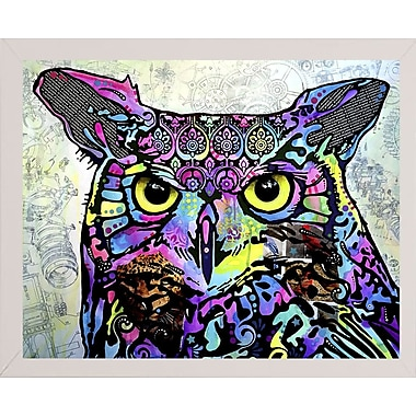 East Urban Home 'The Owl' Graphic Art Print; White Medium Framed