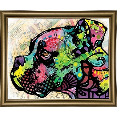 East Urban Home 'Profile Boxer Deco' Graphic Art Print; Bistro Gold Framed