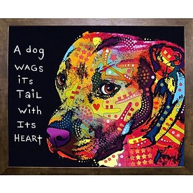 East Urban Home 'Gratitude Pitbull' Graphic Art Print; Cafe Mocha Framed