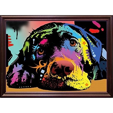 East Urban Home 'Lying Lab' Graphic Art Print; Cherry Grande Framed