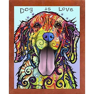 East Urban Home 'Dog is Love' Graphic Art Print; Canadian Walnut Medium Framed