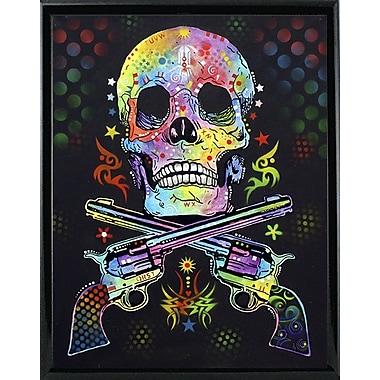 East Urban Home 'Skull and Guns' Graphic Art Print; Black Metal Framed
