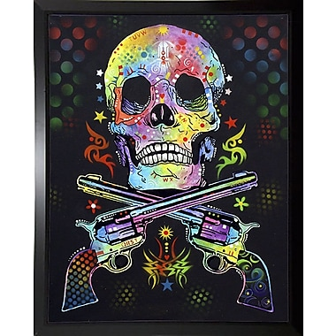 East Urban Home 'Skull and Guns' Graphic Art Print; Budget Saver Framed