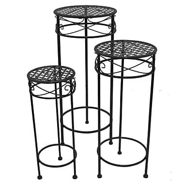 Fleur De Lis Living Cedarvale Round 3 Piece Nesting Plant Stand Set; Black
