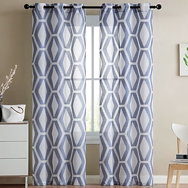 George Oliver Ulrich Geometric Sheer Grommet Curtain Panels (Set of 2); Indigo/Blue