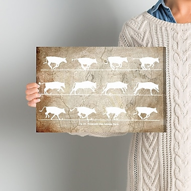 Gracie Oaks 'Cows in Motion' Graphic Art on Wrapped Canvas; 10'' H x 15'' W