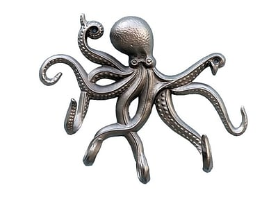 Highland Dunes Jessy Octopus Tentacle Wall Hook; Brushed Nickel