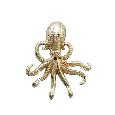 Highland Dunes Keven Octopus Wall Hook; Brass
