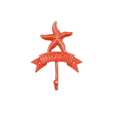 Highland Dunes Sharlyn Starfish Beach Wall Hook; Rustic Red Whitewashed