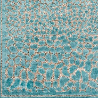 Everly Quinn Markita Teal/Gray Area Rug; 4' x 5'7''