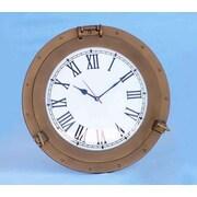 Longshore Tides Edison Ship Porthole 17'' Analog Wall Clock; Antique Brass
