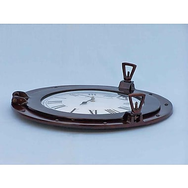 Longshore Tides Edison Ship Porthole 17'' Analog Wall Clock; Antique Copper