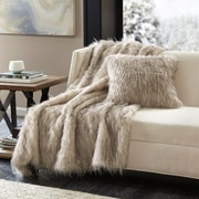 Mercer41  Dover Faux Fur Throw; Natural