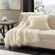 Mercer41  Dover Faux Fur Throw; Ivory