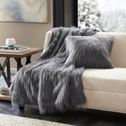Mercer41  Dover Faux Fur Throw; Grey