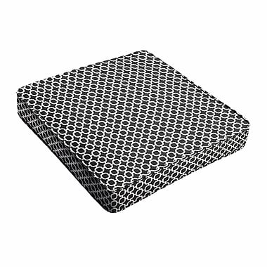 Latitude Run Samantha Geometric Piped Indoor/Outdoor Dining Chair Cushion; 3'' H x 20'' W x 20'' D