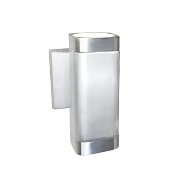 Orren Ellis Leilla Contemporary 2-Light Outdoor Sconce; Brushed Aluminum