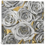 Willa Arlo Interiors 'Roses - Silver on Gold' Graphic Art Print on Canvas; 18'' H x 18'' W x 1.5'' D