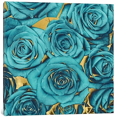 Willa Arlo Interiors 'Roses - Teal on Gold' Graphic Art Print on Canvas; 37'' H x 37'' W x 0.75'' D