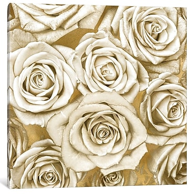 Willa Arlo Interiors 'Ivory Roses on Gold' Graphic Art Print on Canvas; 26'' H x 26'' W x 1.5'' D