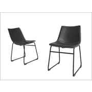 Williston Forge Stephania Upholstered Dining Chair (Set of 2); Charcoal