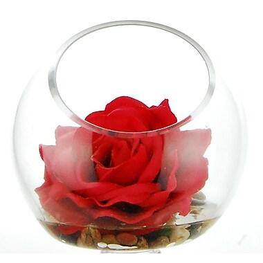 Winston Porter Rose Floral Arrangement in Pot; Red