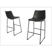 17 Stories Hailley 29'' Bar Stool (Set of 2); Charcoal