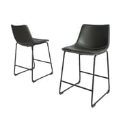 17 Stories Mariia Upholstered Dining Chair (Set of 2); Charcoal