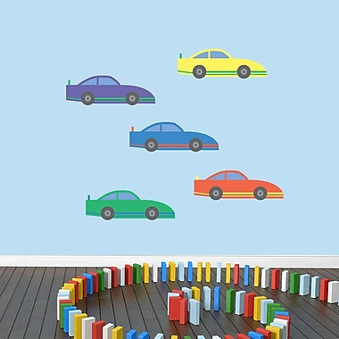 SweetumsWallDecals Race 5 Piece Cars Wall Decal Set; Medium