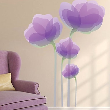 SweetumsWallDecals Purple Flowers Wall Decal; 48'' H x 36'' W