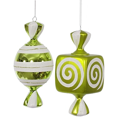 The Holiday Aisle 2 Piece Fat Candy Christmas Ornament Set; Lime / White