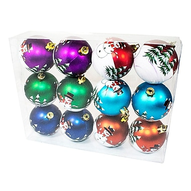 The Holiday Aisle Color Ball Ornament w/ Snowman Design (Set of 12)