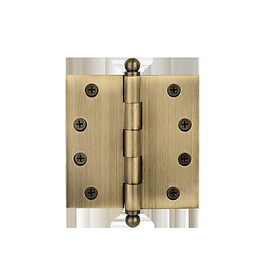 Nostalgic Warehouse 4'' H x 4'' W Ball Tipped Hinge; Antique Brass