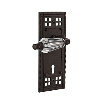 Nostalgic Warehouse Parlour Privacy Door Lever w/ Craftsman Plate; Oil Rubbed Bronze