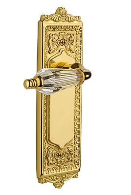 Nostalgic Warehouse Parlour Privacy Door Lever w/ Egg and Dart Plate; Polished Brass