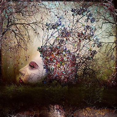 Ebern Designs 'Bogged Down Floral Face' Framed Graphic Art Print on Wrapped Canvas