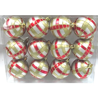 The Holiday Aisle Ball Ornament w/ Plaid Design (Set of 12); Silver