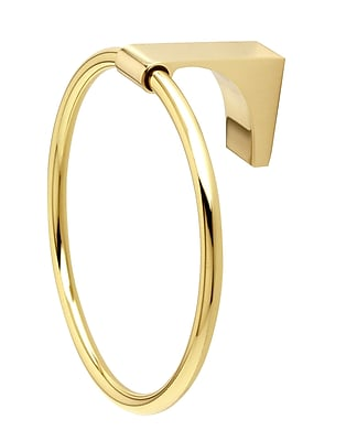 Alno Luna Wall Mounted Towel Ring; Polished Brass