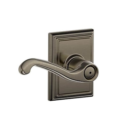 Schlage Flair F Series Privacy Door Lever w/ Addison Rosette; Antique Nickel