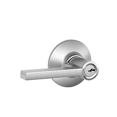 Schlage Latitude F Series Storeroom Keyed Entry Door Lever; Satin Chrome
