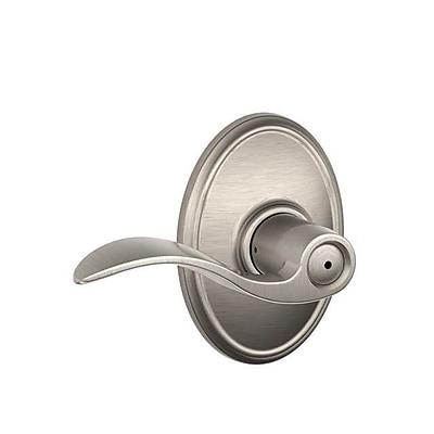 Schlage Accent F Series Privacy Door Lever w/ Wakefield Rosette; Satin Nickel WYF078281866213