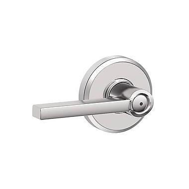 Schlage Latitude F Series Privacy Door Lever w/ Greyson Rosette; Bright Chrome