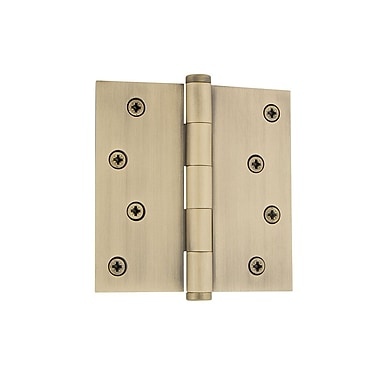 Grandeur 4'' Button Tip Residential Hinge w/ Square Corners; Vintage Brass