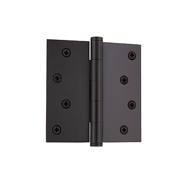 Grandeur 4'' Button Tip Residential Hinge w/ Square Corners; Timeless Bronze