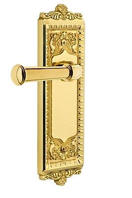 Grandeur Georgetown Door Lever w/ Windsor Plate; Polished Brass