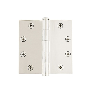 Grandeur 4.5'' Button Tip Heavy Duty Hinge w/ Square Corners; Polished Nickel