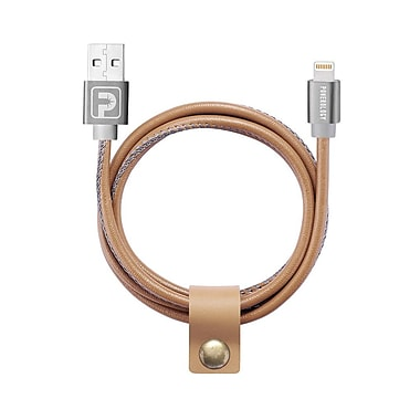 Powerology 3 ft. 1m Vegan Leather Apple Authorized Lightning Cable, Brown (PLCMFIBR)