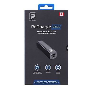 Powerology - Chargeur portatif ReCharge, 2500 mAh, noir (P2500BK)